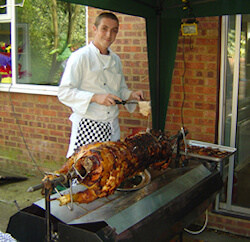 Pig roast cooking